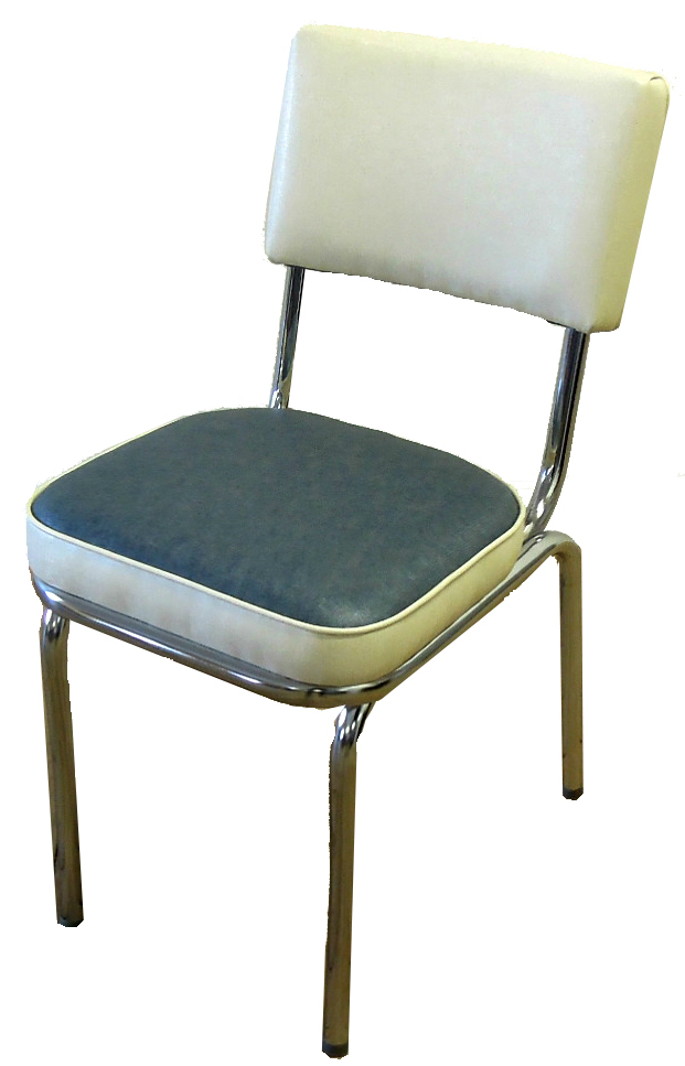 Reupholstered kitchen chair in vinyl with chrome frame