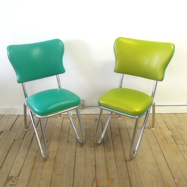 Reupholstered kitchen chairs in vinyl with chrome frame