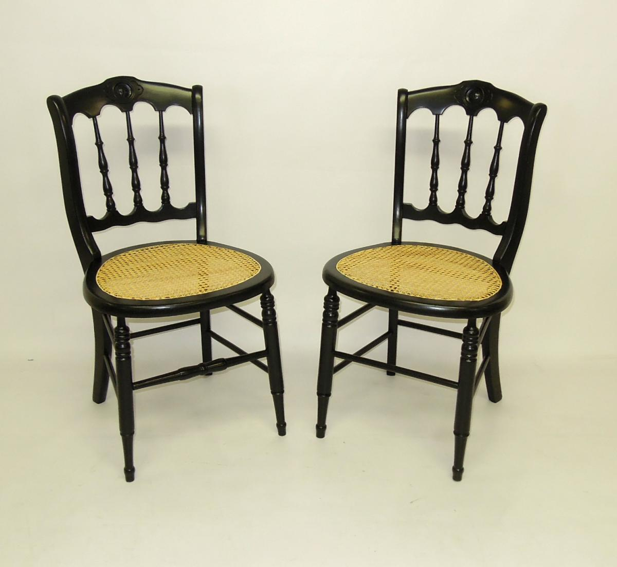 Refinished and re-caned antique dining chairs