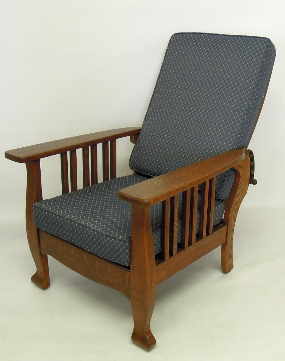 Mission chair with reupholstered in Robert Allen blue fabric