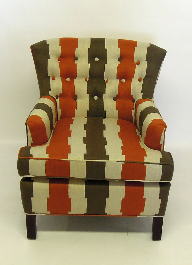 Armchair reupholstered in Robert Allen fabric