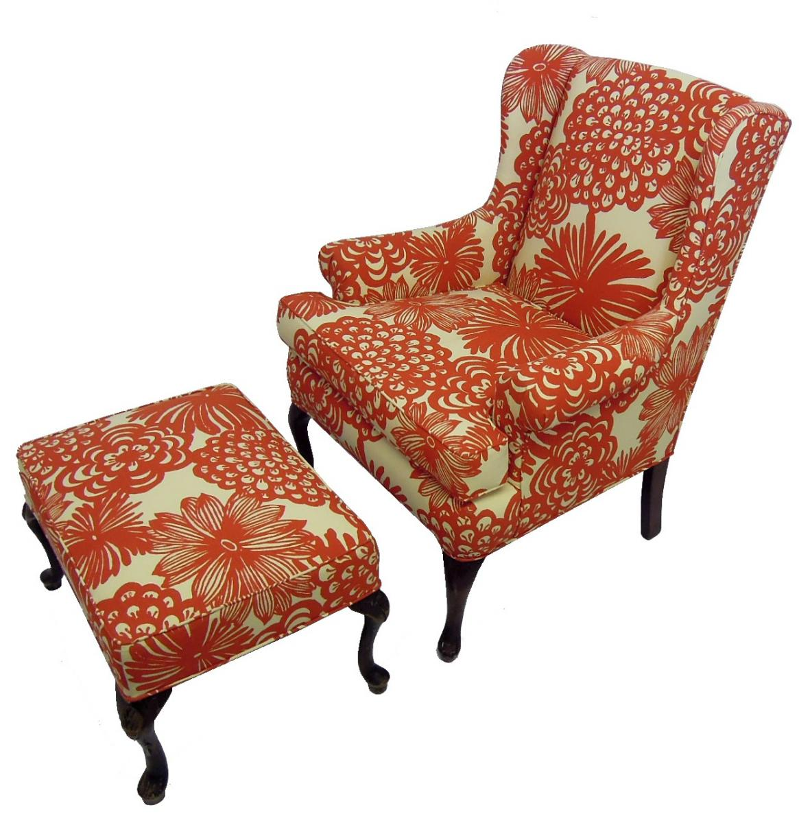 Classic Wing Chair and Ottoman