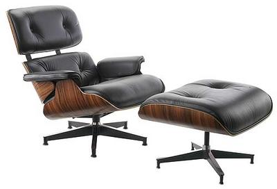 Eames Lounge Chair & Ottoman Reupholstered in Leather