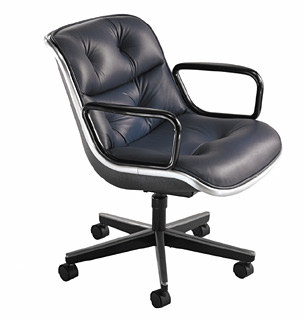 Knoll Pollock Executive Chair reupholstered in black leather
