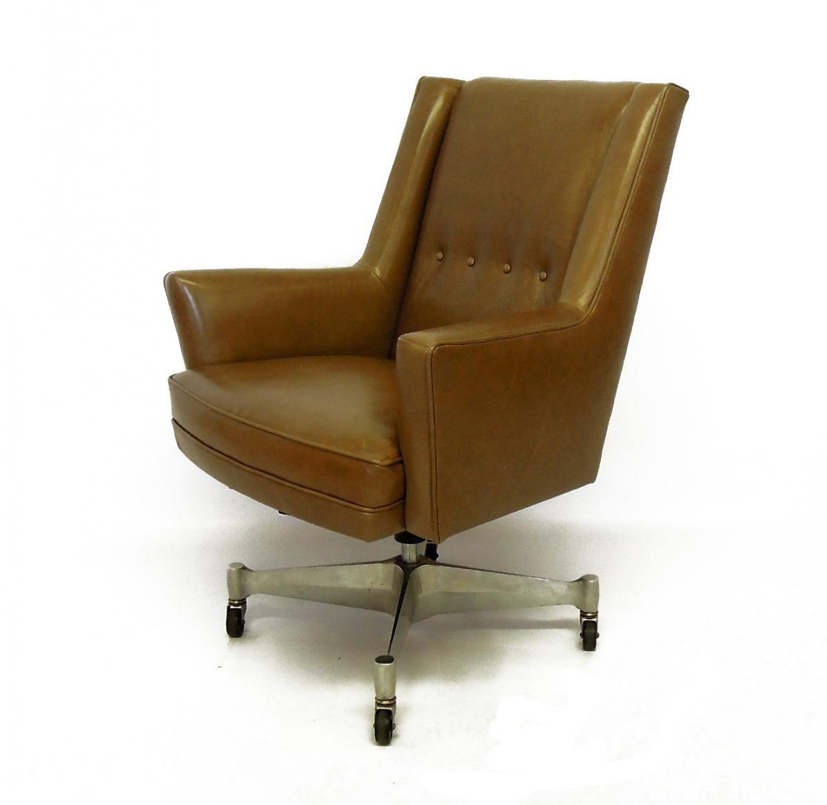 Mid-Century Swivel Office Chair in Leather