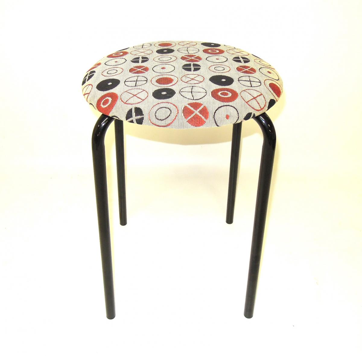 MOD stools reupholstered in Maharam Circles by Eames