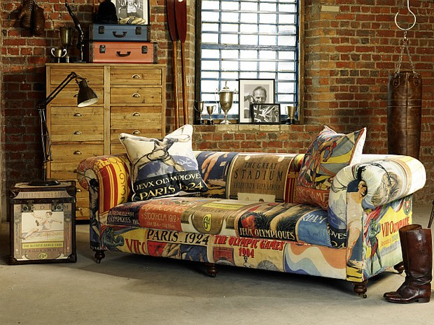 The Redgrave sofa by furniture designers Barker & Stonehouse reupholstered in Olympic themed fabric
