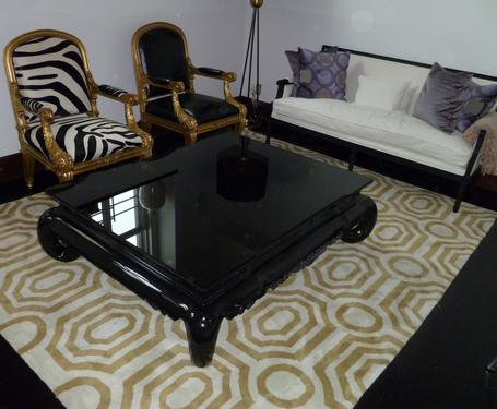 mod refinished our coffee table in high gloss black & had a custom