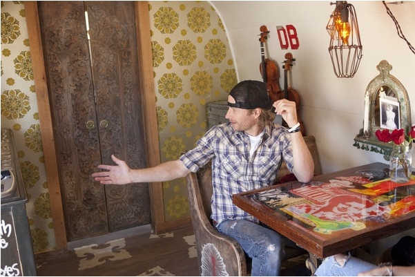 Dierks Bentley in his restored trailer (photo credit: Sarah Wilson/Getty Images)