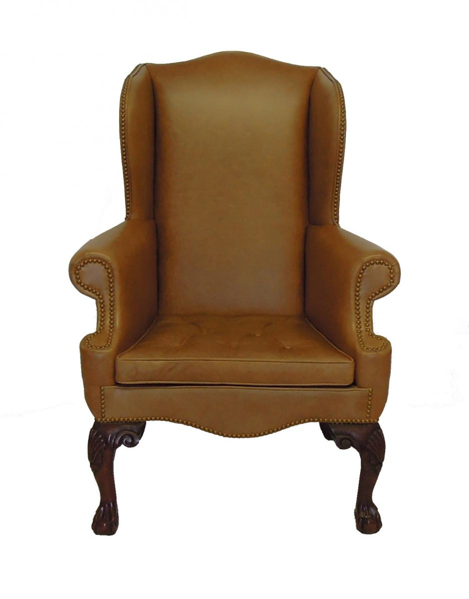 Classic Wing Chair in Leather and Nail Heads